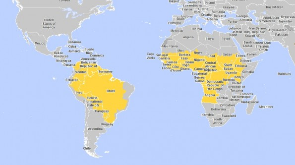 Карта желтой лихорадки, её распространение